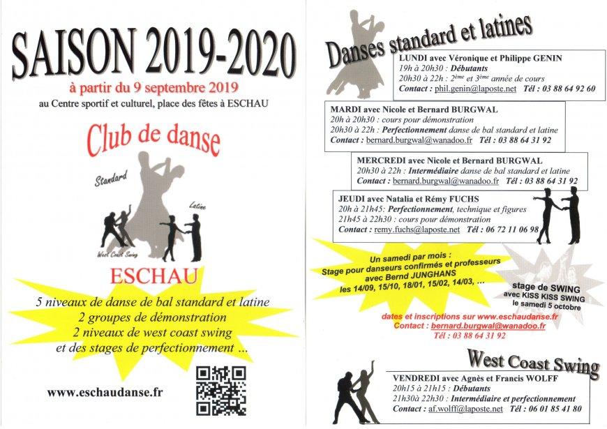 Club de Danse d'Eschau - Reprise des cours saison 2019-2020